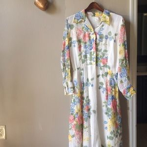 Vintage Floral Semi Sheer Maxi Dress Sz L/XL